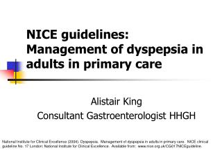 NICE guidelines: Management of dyspepsia in adults in primary care