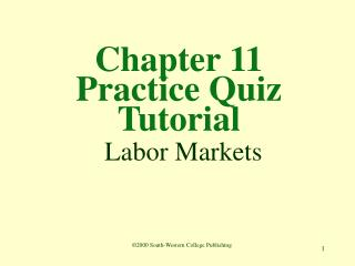 Chapter 11  Practice Quiz Tutorial  Labor Markets