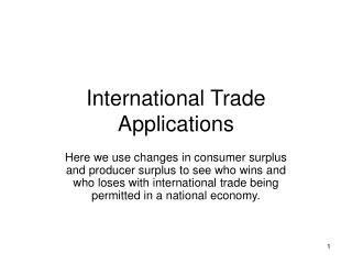 International Trade Applications