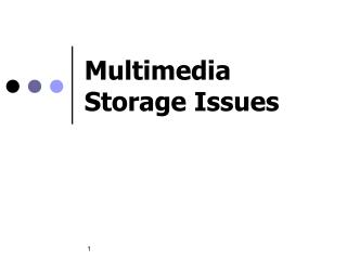 Multimedia Storage Issues