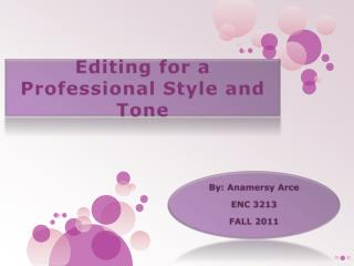 Editing for a Professional Style and Tone