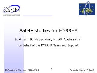 Safety studies for MYRRHA