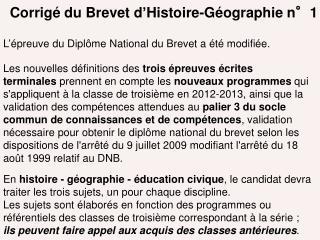 Corrigé du Brevet d ' Histoire-Géographie n°1
