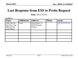 Last Response from ESS to Probe Request