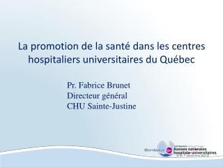 La promotion de la santé dans les centres hospitaliers universitaires du Québec