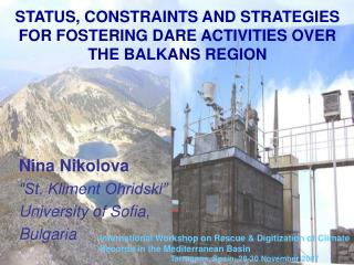 STATUS, CONSTRAINTS AND STRATEGIES FOR FOSTERING DARE ACTIVITIES OVER THE BALKANS REGION