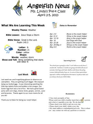 Angelfish News Ms. Linda's Pre-k Class  April 2-5, 2013