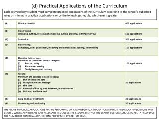(d) Practical Applications of the Curriculum