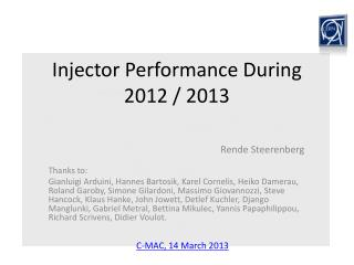 Injector Performance During 2012 / 2013