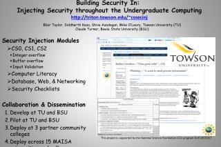 Security Injection Modules CS0, CS1, CS2 Integer overflow Buffer overflow Input Validation