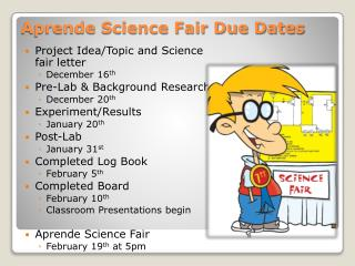 Aprende Science  Fair Due Dates