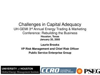Laurie Brooks VP Risk Management and Chief Risk Officer Public Service Enterprise Group