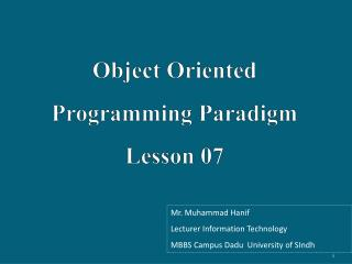 Object Oriented Programming Paradigm Lesson 07