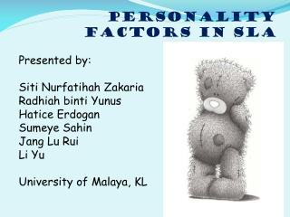 PERSONALITY FACTORS in  sla