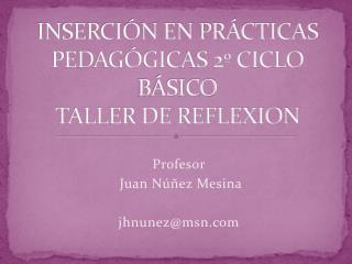 INSERCI N EN PR CTICAS PEDAG GICAS 2  CICLO B SICO        TALLER DE REFLEXION