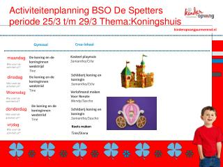 Activiteitenplanning BSO De Spetters periode 25/3 t/m  29/3 Thema: Koningshuis