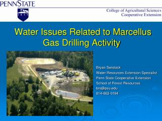 Water Issues Related to Marcellus Gas Drilling Activity