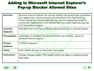 Adding to Microsoft Internet Explorer�s Pop-up Blocker Allowed Sites