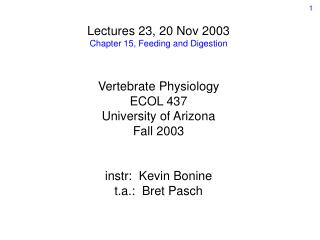 Lectures 23, 20 Nov 2003 Chapter 15, Feeding and Digestion Vertebrate Physiology ECOL 437