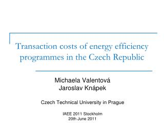 Transaction costs of energy efficiency programmes in the Czech Republic