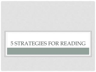 5 Strategies for Reading