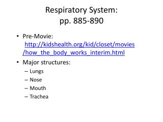 Respiratory System: pp. 885-890