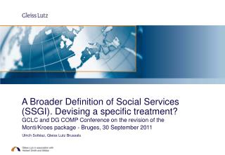 A Broader Definition of Social Services (SSGI). Devising a specific treatment?