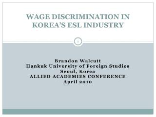 WAGE DISCRIMINATION IN KOREA'S ESL INDUSTRY