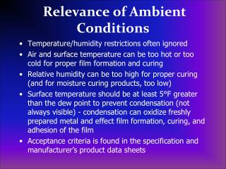 Relevance of Ambient Conditions
