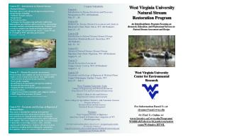 West Virginia University Natural Stream Restoration Program