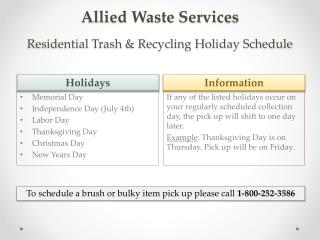 Allied Waste Services  Residential Trash & Recycling Holiday Schedule