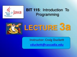 BIT 115 :  Introduction  To Programming LECTURE  3a