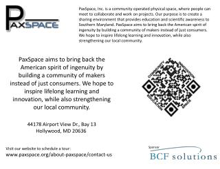 Visit our website to schedule a tour: paxspace/about-paxspace/contact-us