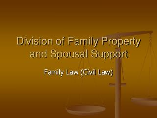 Division of Family Property and Spousal Support