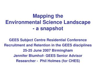 Mapping the  Environmental Science Landscape - a snapshot