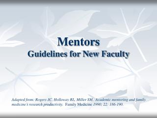 Mentors Guidelines for New Faculty