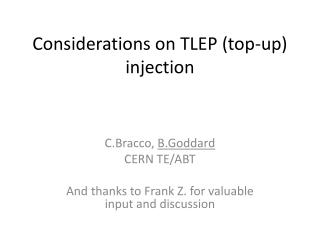 Considerations on TLEP (top-up) injection