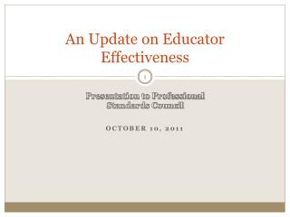 An Update on Educator Effectiveness