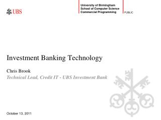 Investment Banking Technology