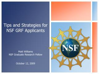 Tips and Strategies for NSF GRF Applicants