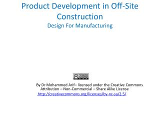 Product Development in Off-Site Construction Design For Manufacturing