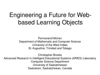 Engineering a Future for Web-based Learning Objects