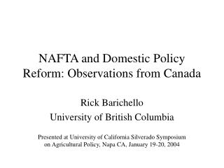 NAFTA and Domestic Policy Reform: Observations from Canada