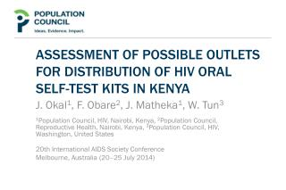 Assessment of possible outlets for distribution of HIV oral  self-test kits in Kenya