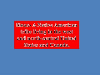 Sioux-  A Native American tribe living in the west and north-central United States and Canada .
