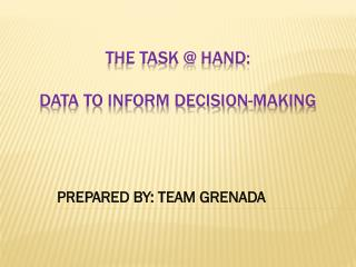 THE TASK @ HAND: DATA TO INFORM DECISION-MAKING