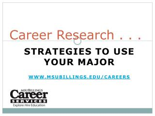 Career Research . . .