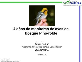 4 años de monitoreo de aves en  Bosque Pino-roble