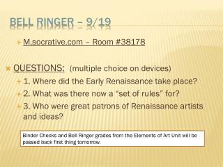 Bell Ringer � 9/19