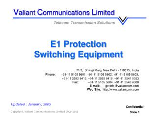 E1 Protection Switching Equipment